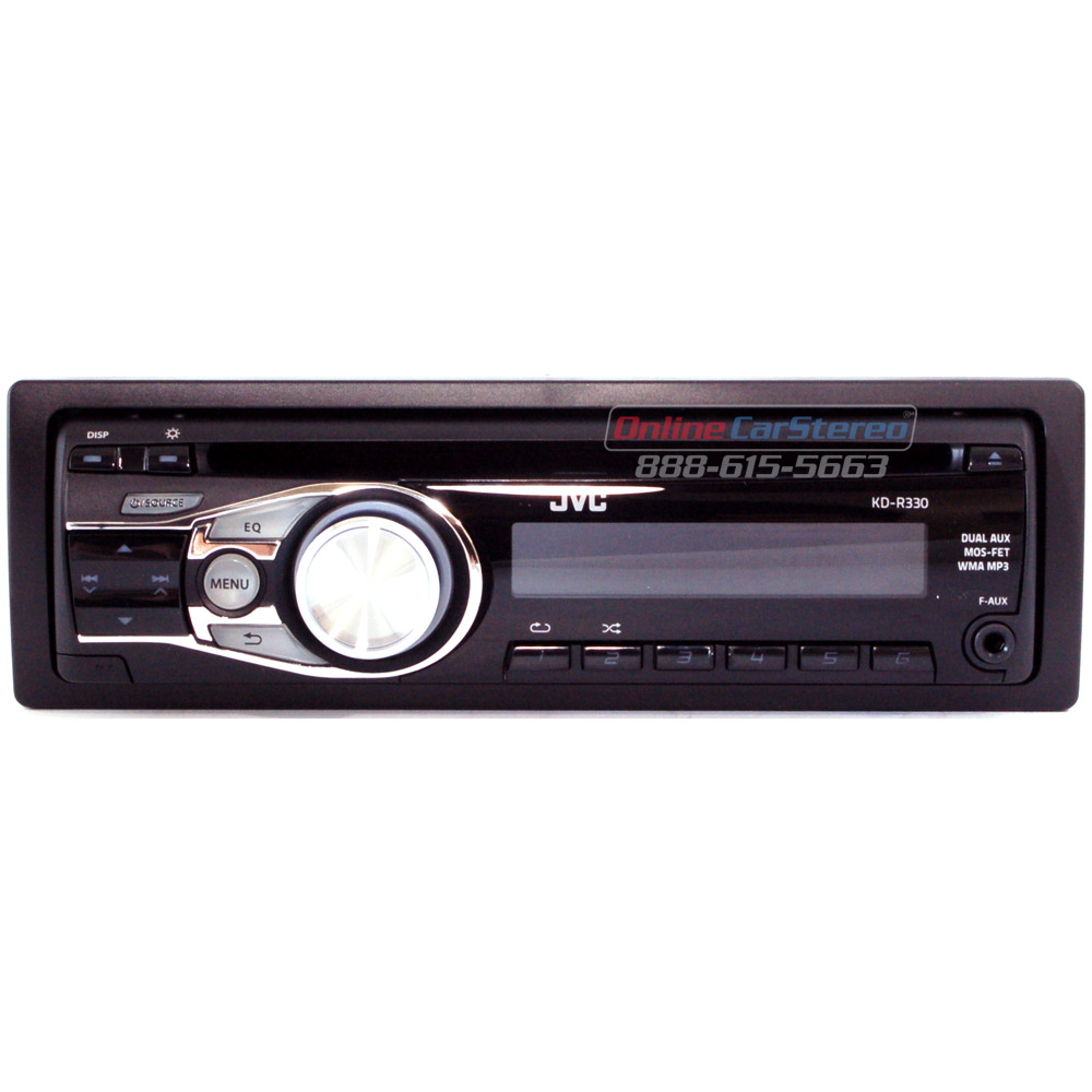 jvc kd r330 kdr330 single din in dash cd mp3 wma car stereo receiver with dual aux inputs. Black Bedroom Furniture Sets. Home Design Ideas