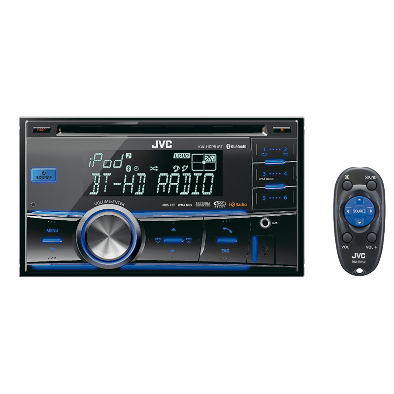 jvc kw hdr81bt double din bluetooth car stereo w usb ipod. Black Bedroom Furniture Sets. Home Design Ideas