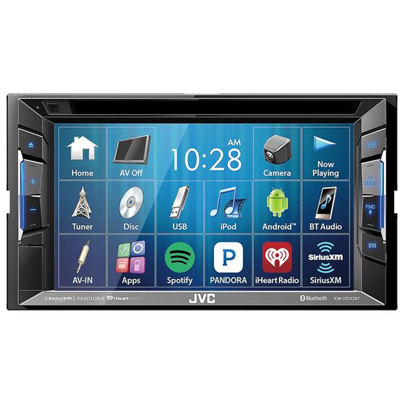 jvc kw v230bt 6 2 touchscreen double din blue button. Black Bedroom Furniture Sets. Home Design Ideas