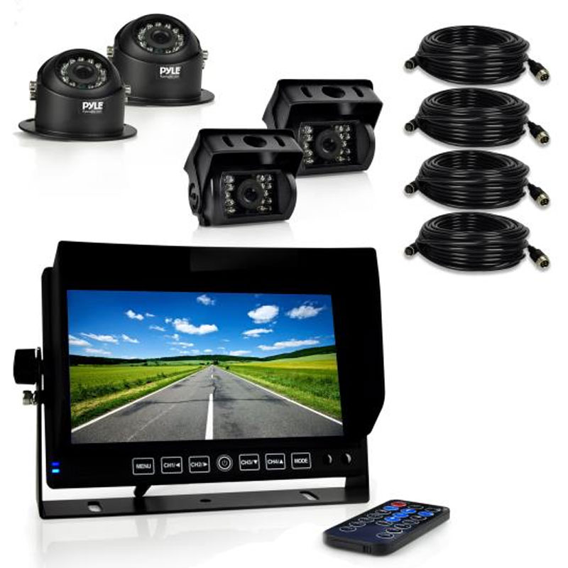 Pyle Backup Camera >> Pyle PLCMTRDVR46 HD Multi-Camera DVR Video Recording Driving System, 7'' Display Monitor, (4 ...
