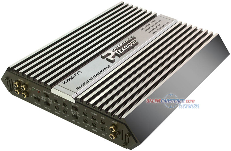 performance teknique icbm 773 600w 4 channel bridgeable power amplifier at onlinecarstereo