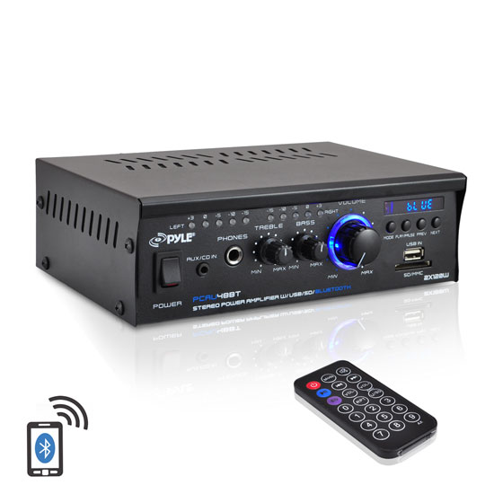 Pyle PCAU48BT Bluetooth Mini Blue Series Stereo Power