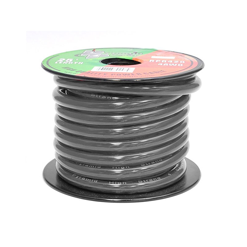 pyramid rpb425 4 awg ofc black ground wire 25foot spool at. Black Bedroom Furniture Sets. Home Design Ideas