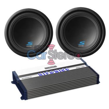 Hifonics BXX2000.1D2000WMonoAmplifierTwoS-W12D4121800WMaxCarSubwooferBassPackage
