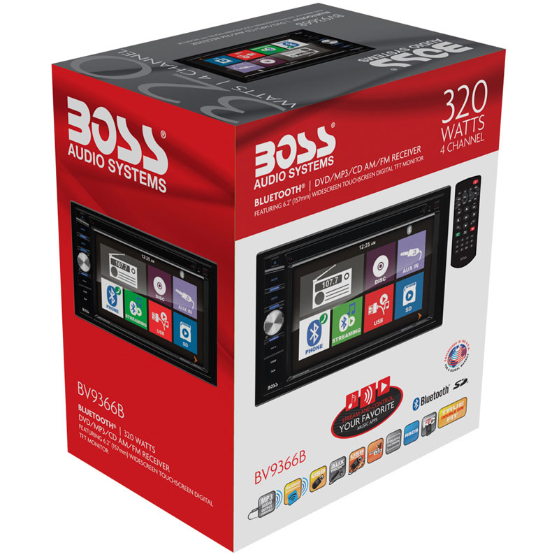 """Boss Bv9538b Double Din Bluetooth Dvd Car Stereo Receiver: Boss Audio BV9366B In-Dash 6.2"""" Double DIN LCD Touchscreen"""