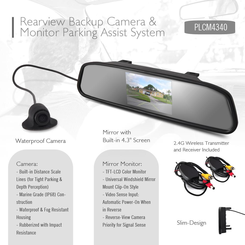 pyle plcm4370wir wireless rearview backup camera monitor parking assist system mirror with. Black Bedroom Furniture Sets. Home Design Ideas