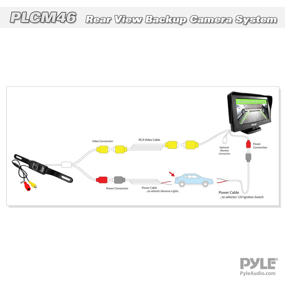 pyle backup camera wiring diagram 7500 pyle plcm46 lcd monitor and rear view license plate back ... #4