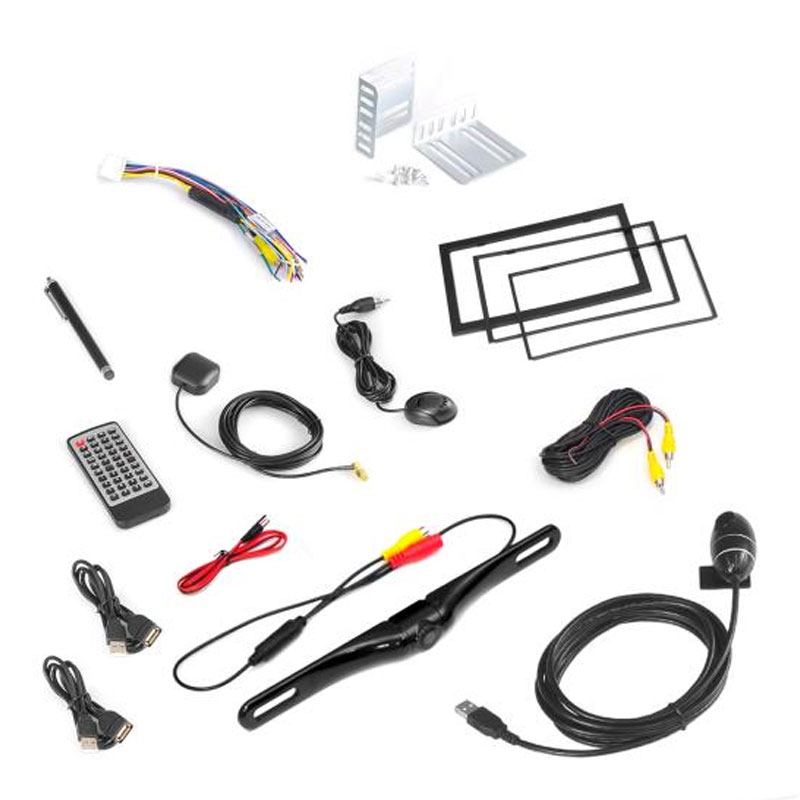 pyle pldnand465 double din android stereo receiver  u0026 dual camera system  hd dvr dash cam