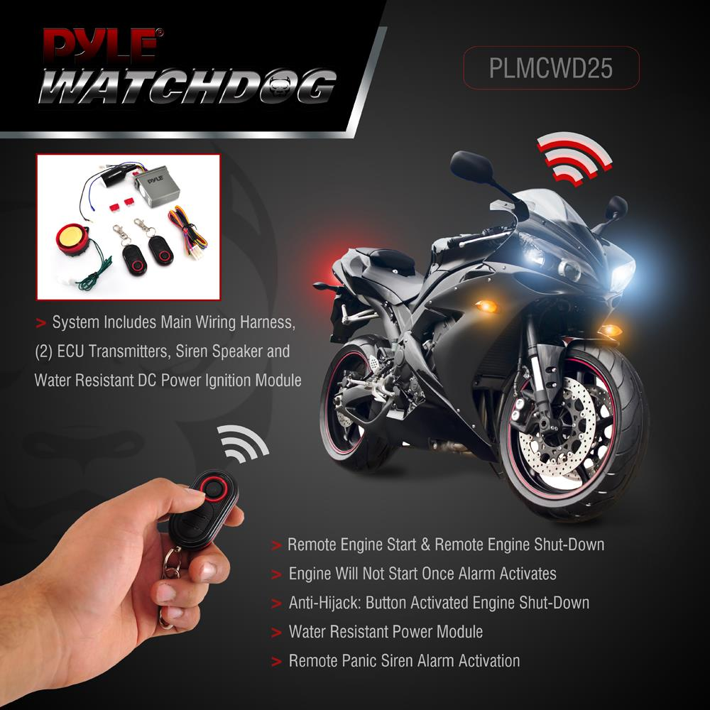 Car Won T Start >> Pyle PLMCWD25 Watch Dog Motorcycle Vehicle Alarm Security ...