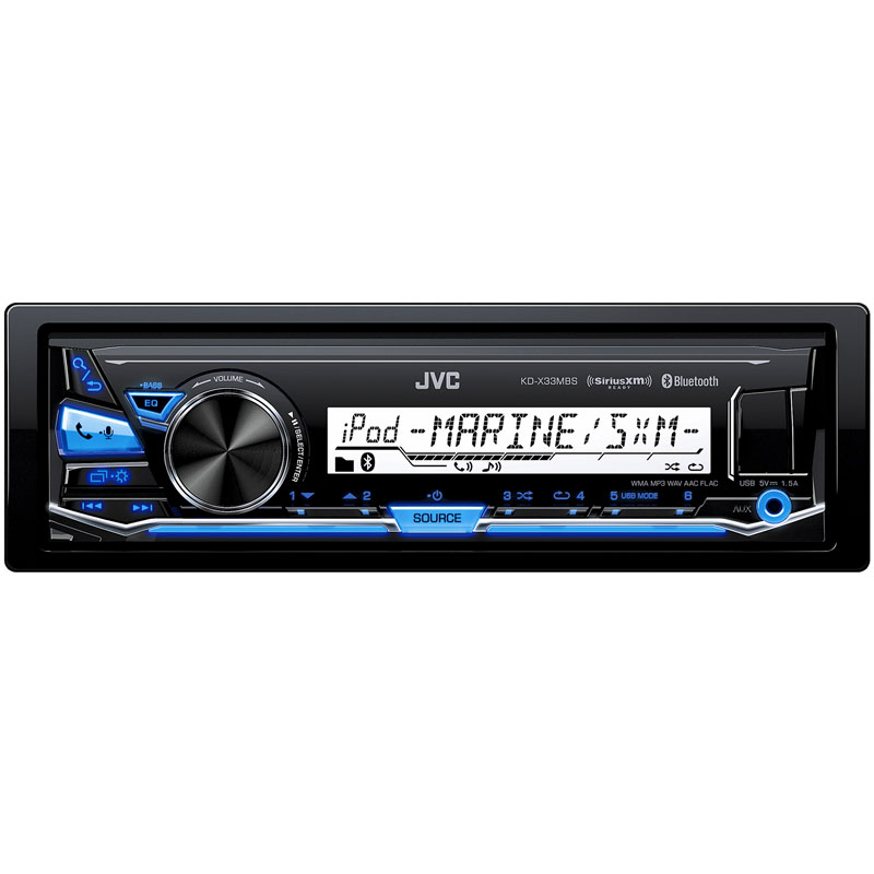 JVC KD-X33MBS Single DIN Marine Grade Bluetooth In-Dash