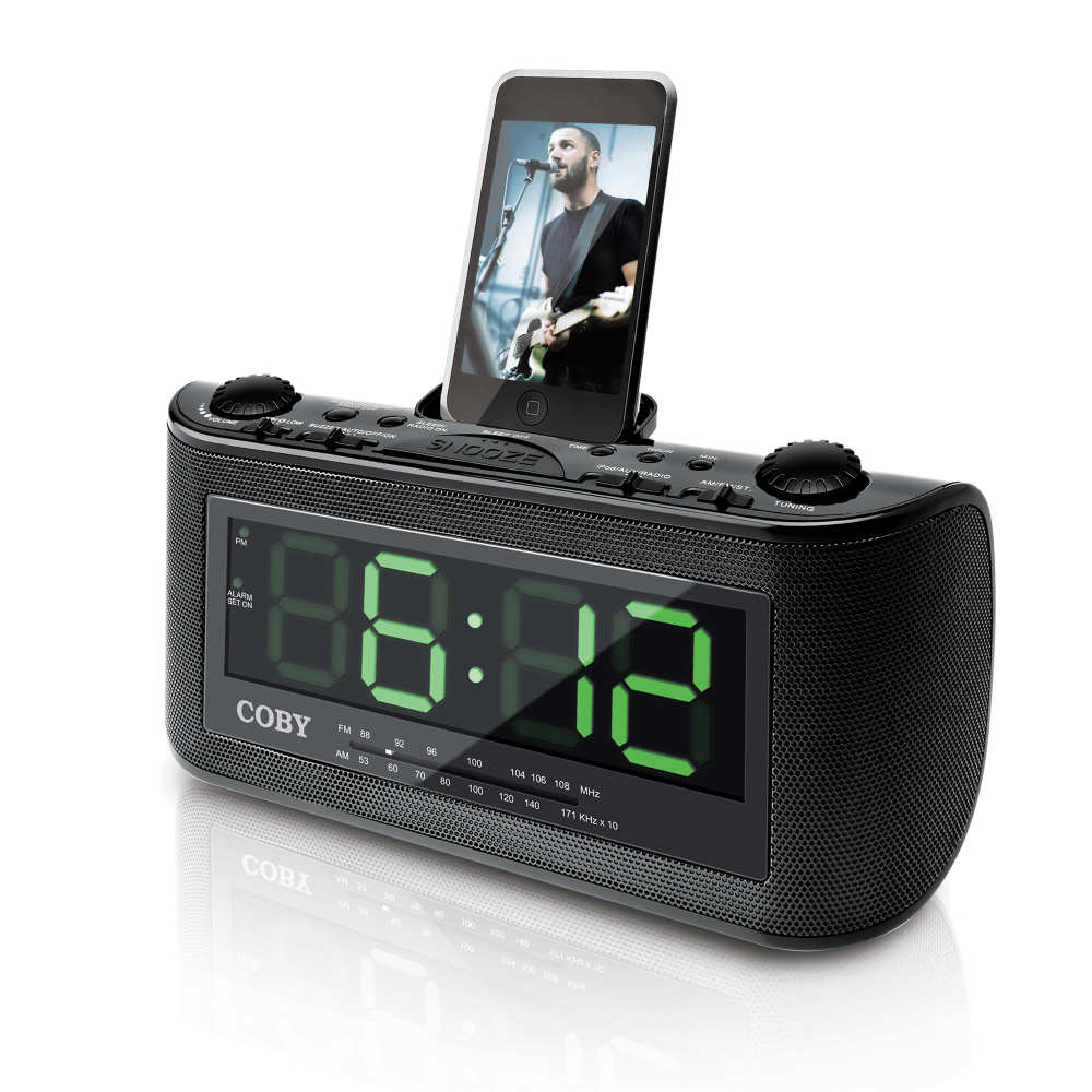 coby csmp120 alarm clock radio with ipod docking station at. Black Bedroom Furniture Sets. Home Design Ideas