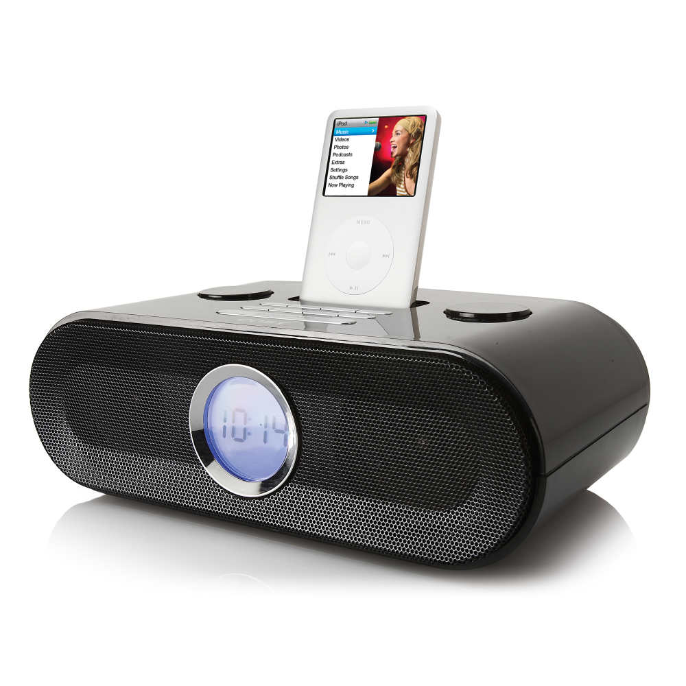 coby csmp125 dual alarm clock radio with universal dock for ipod at. Black Bedroom Furniture Sets. Home Design Ideas