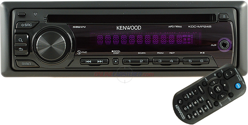 Power Acoustik Car Stereo Kenwood KDC-MP245 MP3/WMA CD Receiver With Front Aux Input at ...