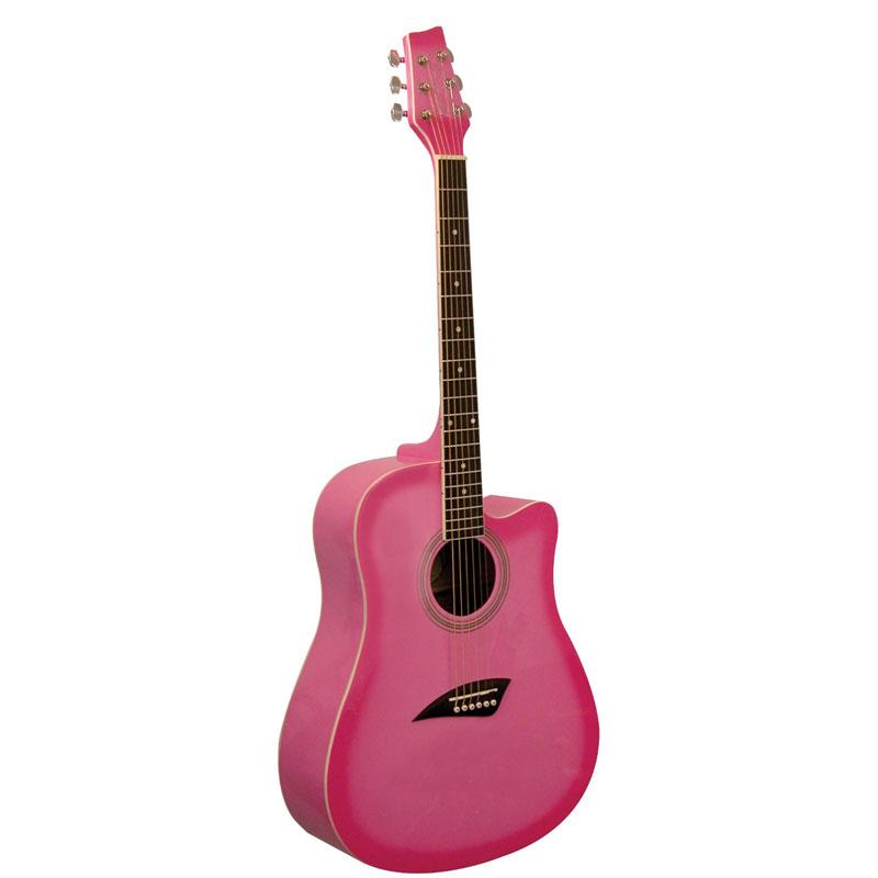 Kona K1PNK Acoustic Dreadnought Cutaway Guitar in Gloss ...