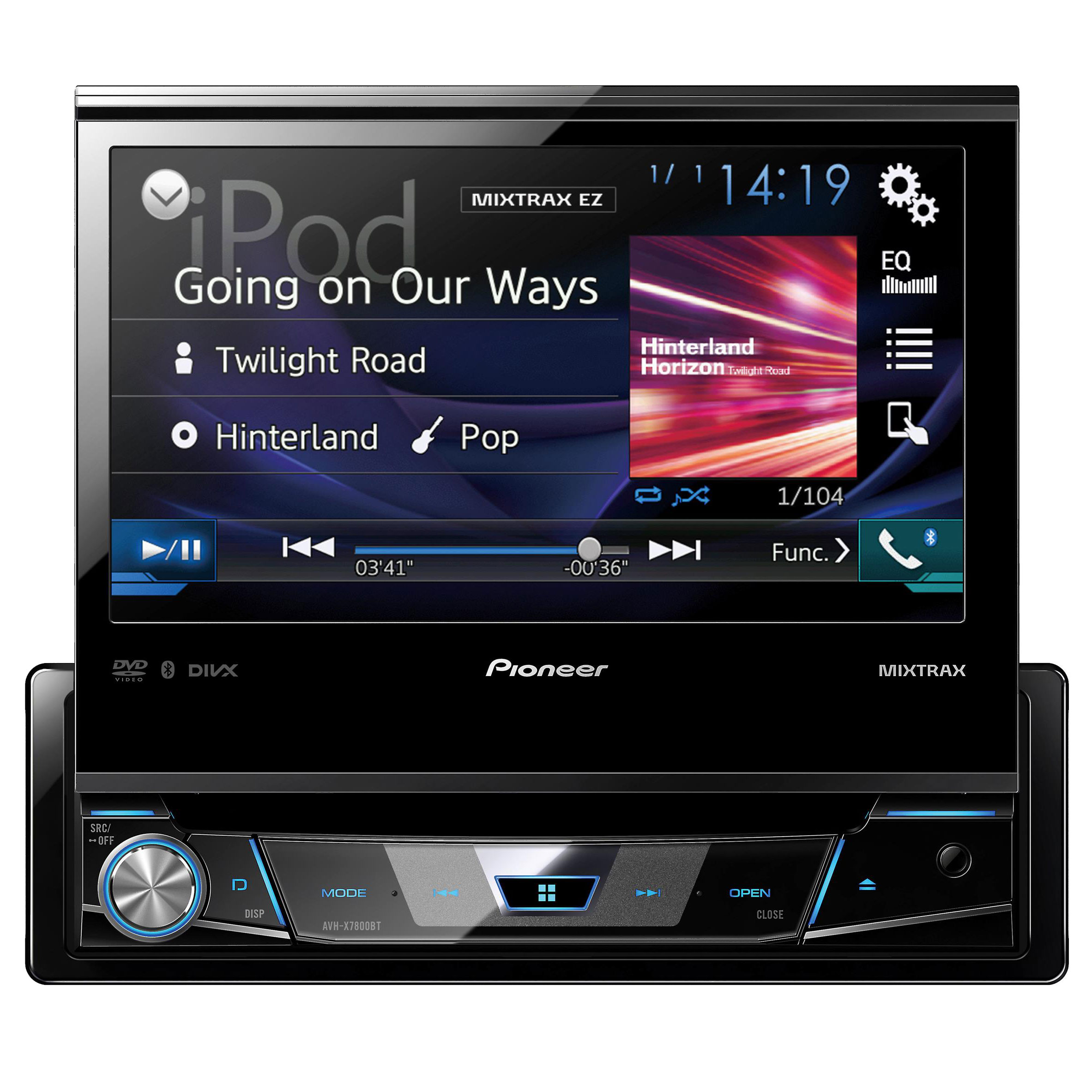 pioneer avh x7800bt 1 din dvd receiver with 7 flip out. Black Bedroom Furniture Sets. Home Design Ideas