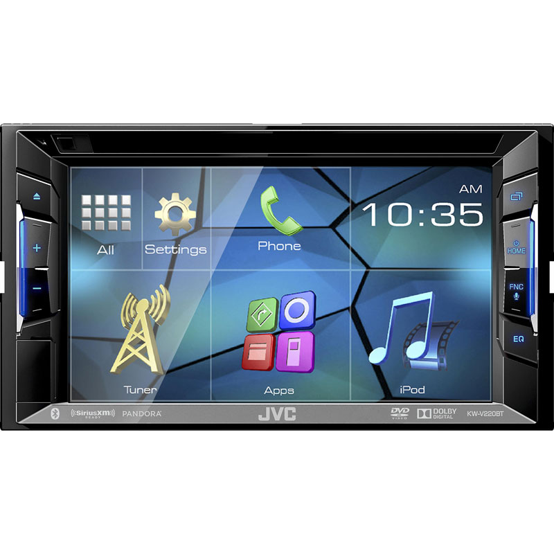 jvc kw v220bt double din bluetooth in dash dvd cd am fm. Black Bedroom Furniture Sets. Home Design Ideas