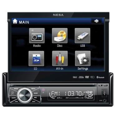Nesa NSD-700 Single Din CD/DVD/AM/FM Receiver with 7