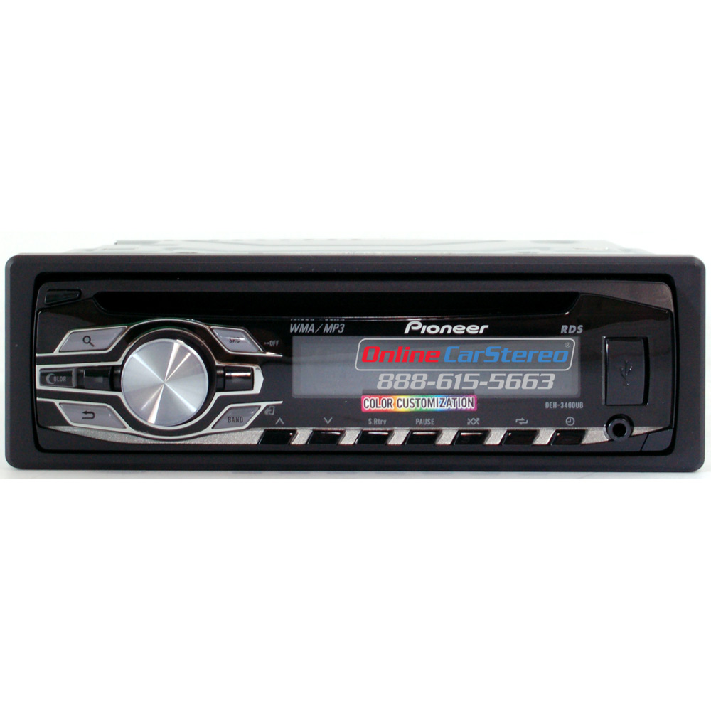 Pioneer Deh 3400ub Single Din In Dash Cd Mp3 Wma Car Stereo Audio Receiver With Color Customization Ipod Control And Steering Wheel Controls At