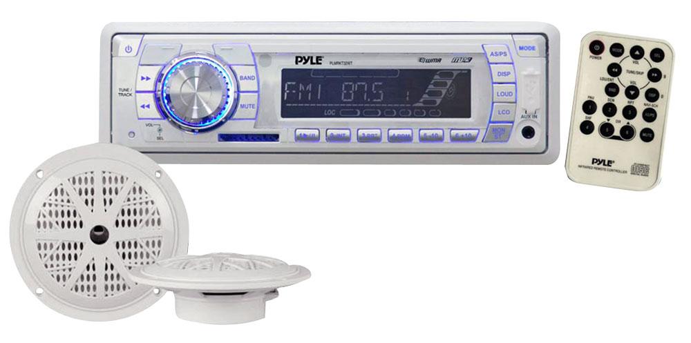 Pyle PLMRKT32WT Single-DIN In-Dash Marine Tuning Radio