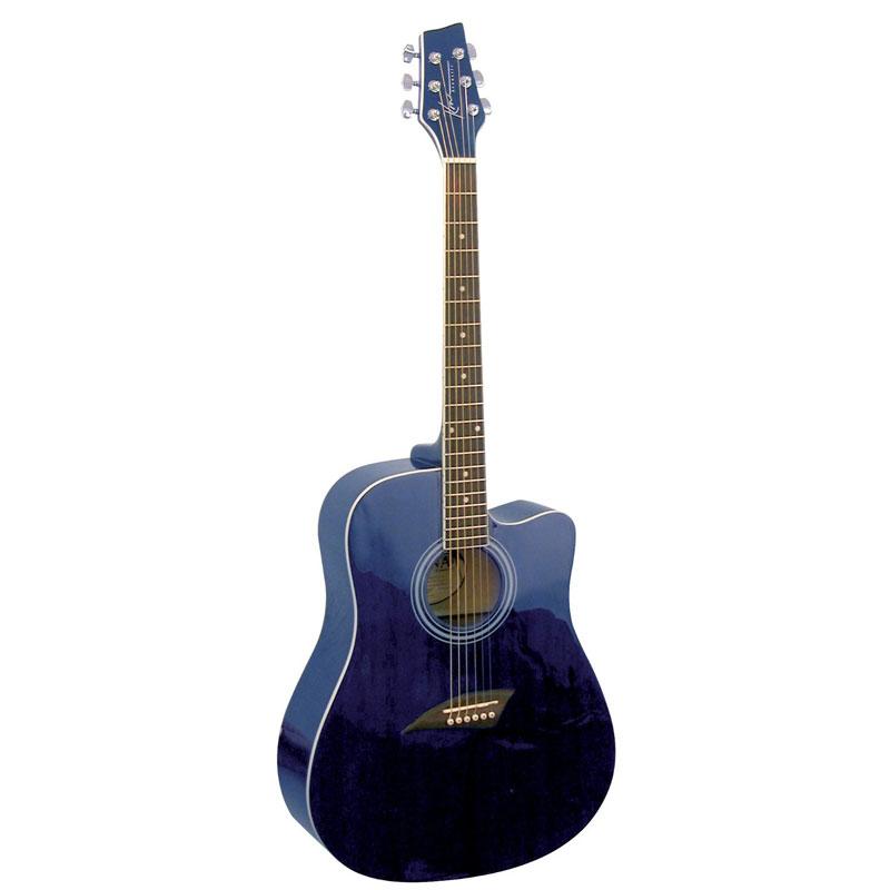 kona k1tbl acoustic dreadnought cutaway guitar in transparent blue finish at. Black Bedroom Furniture Sets. Home Design Ideas