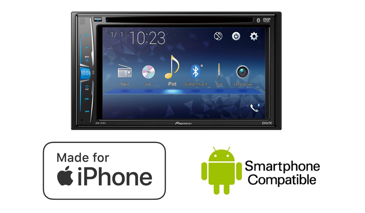 Pioneer AVH-221EX Multimedia DVD Receiver with 6.2inch WVGA Clear Resistive Display
