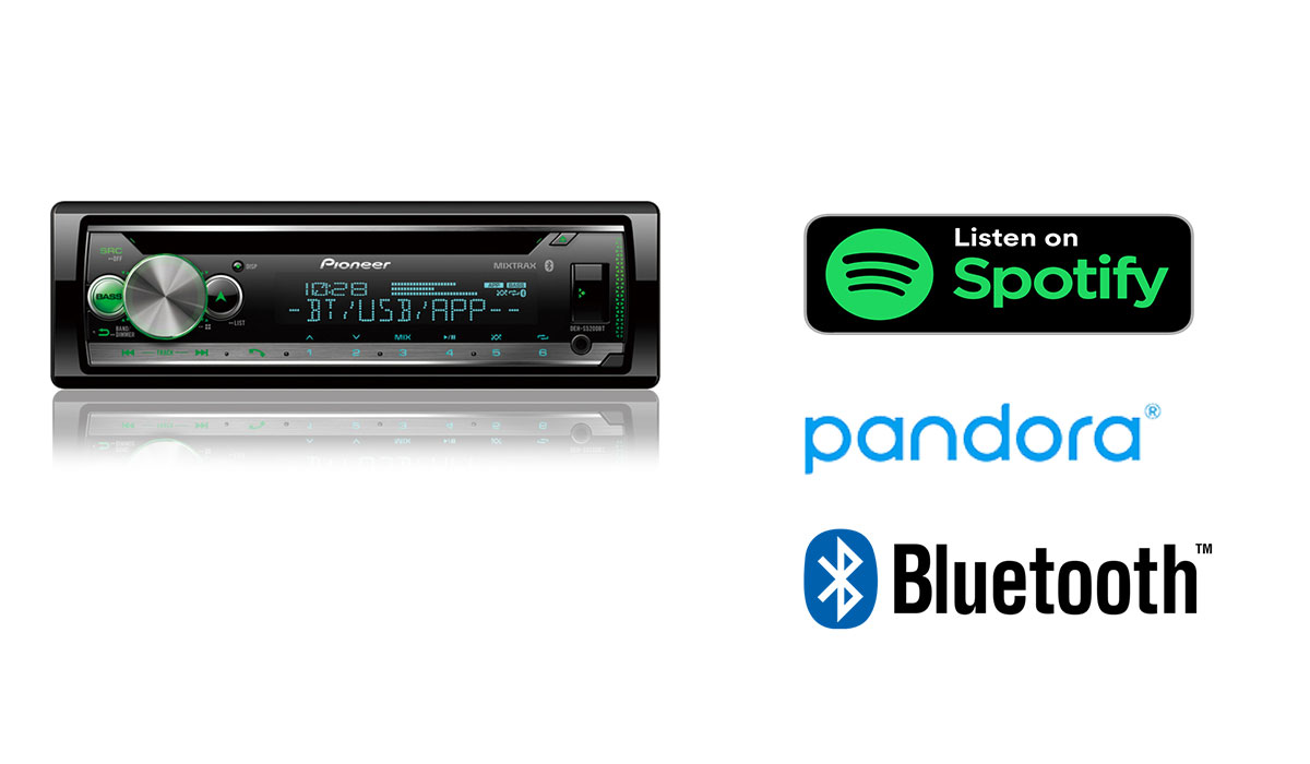 Pioneer DEH-S5200BT CD Receiver with Pioneer Smart Sync App Compatibility, MIXTRAX®, Built-in Bluetooth®, and Color Customization